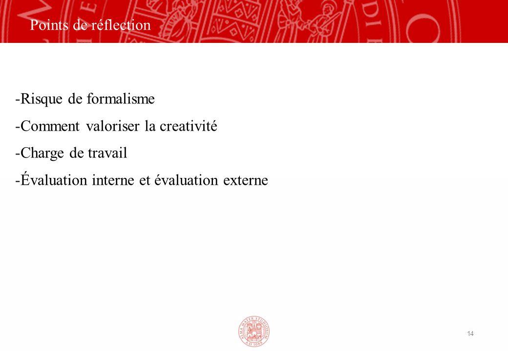14 Points de réflection -Risque de formalisme -Comment valoriser la creativité -Charge de travail -Évaluation interne et évaluation externe