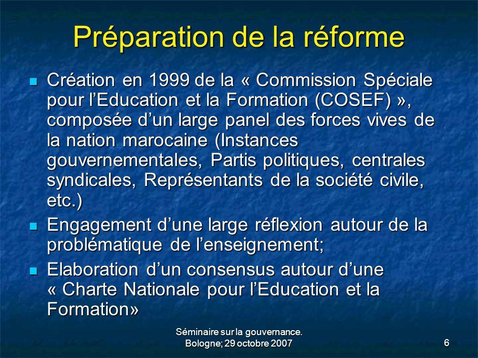 Séminaire sur la gouvernance. Bologne; 29 octobre 20076 Préparation de la réforme Création en 1999 de la « Commission Spéciale pour lEducation et la F