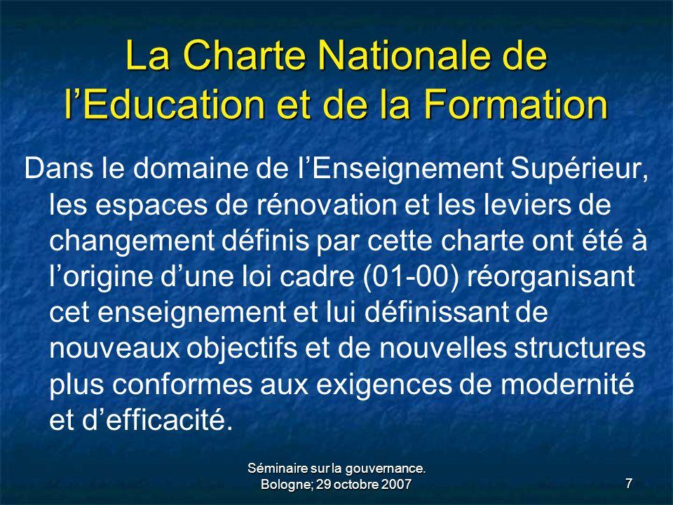 Séminaire sur la gouvernance. Bologne; 29 octobre 20077 La Charte Nationale de lEducation et de la Formation Dans le domaine de lEnseignement Supérieu