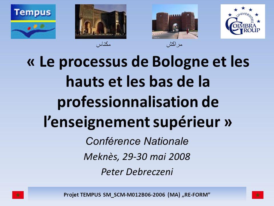 مكناسمراكش Projet TEMPUS SM_SCM-M012B06-2006 (MA) RE-FORM « Le processus de Bologne et les hauts et les bas de la professionnalisation de lenseignement supérieur » Conférence Nationale Meknès, 29-30 mai 2008 Peter Debreczeni