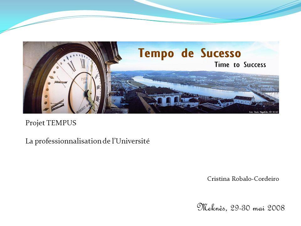 Meknès, 29-30 mai 2008 Projet TEMPUS La professionnalisation de lUniversité Cristina Robalo-Cordeiro