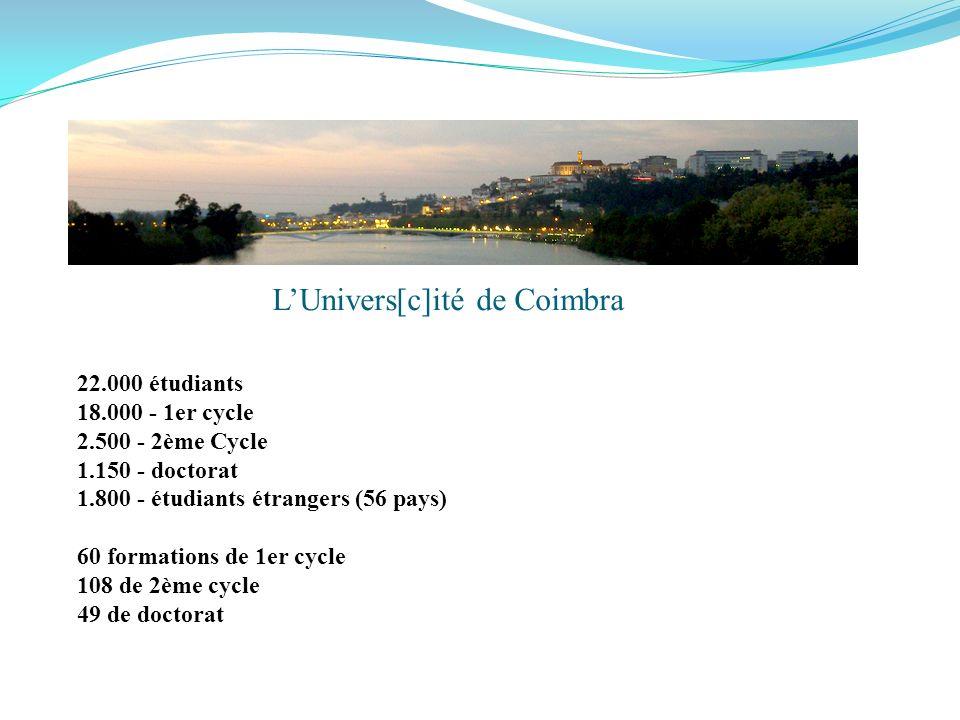 22.000 étudiants 18.000 - 1er cycle 2.500 - 2ème Cycle 1.150 - doctorat 1.800 - étudiants étrangers (56 pays) 60 formations de 1er cycle 108 de 2ème cycle 49 de doctorat LUnivers[c]ité de Coimbra