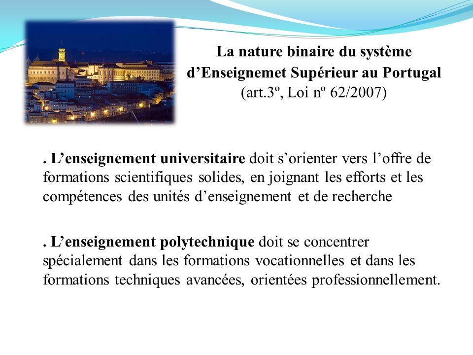 La nature binaire du système dEnseignemet Supérieur au Portugal (art.3º, Loi nº 62/2007). Lenseignement universitaire doit sorienter vers loffre de fo