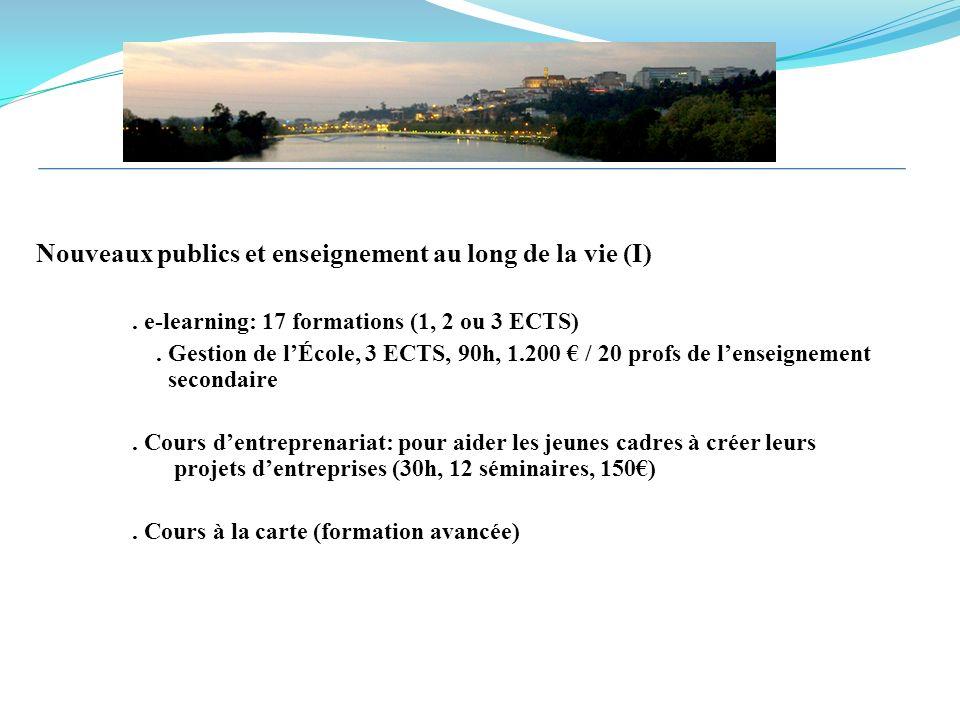 Nouveaux publics et enseignement au long de la vie (I). e-learning: 17 formations (1, 2 ou 3 ECTS). Gestion de lÉcole, 3 ECTS, 90h, 1.200 / 20 profs d
