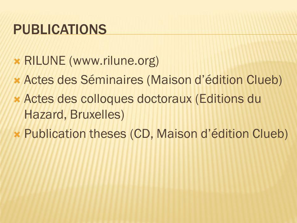 PUBLICATIONS RILUNE (www.rilune.org) Actes des Séminaires (Maison dédition Clueb) Actes des colloques doctoraux (Editions du Hazard, Bruxelles) Publication theses (CD, Maison dédition Clueb)