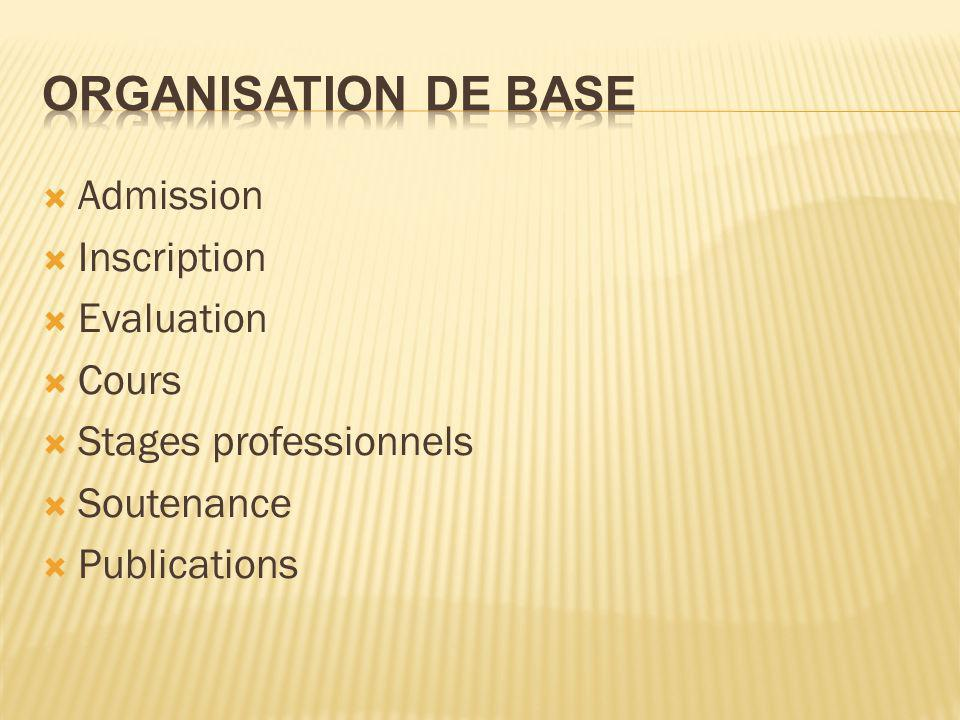 Admission Inscription Evaluation Cours Stages professionnels Soutenance Publications