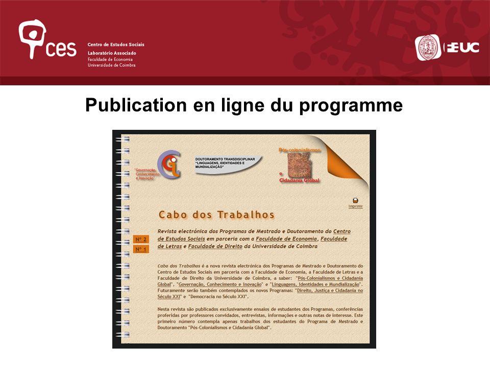 Publication en ligne du programme