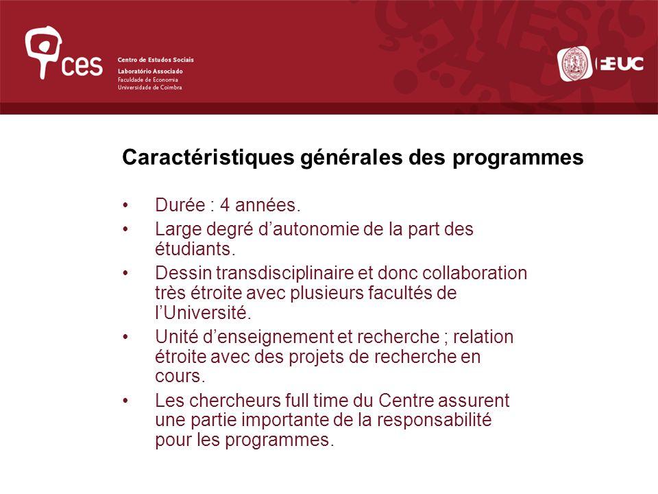 Forte internationalisation dans le cadre des réseaux de recherche auxquels CES participe ; présence de professeurs et chercheurs réputés venant non seulement des universités européennes et nord-américaines, mais aussi, notamment, dAmérique Latine et de lAfrique.
