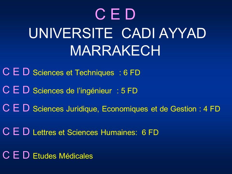 C E D UNIVERSITE CADI AYYAD MARRAKECH C E D Sciences et Techniques : 6 FD C E D Sciences de lingénieur : 5 FD C E D Sciences Juridique, Economiques et