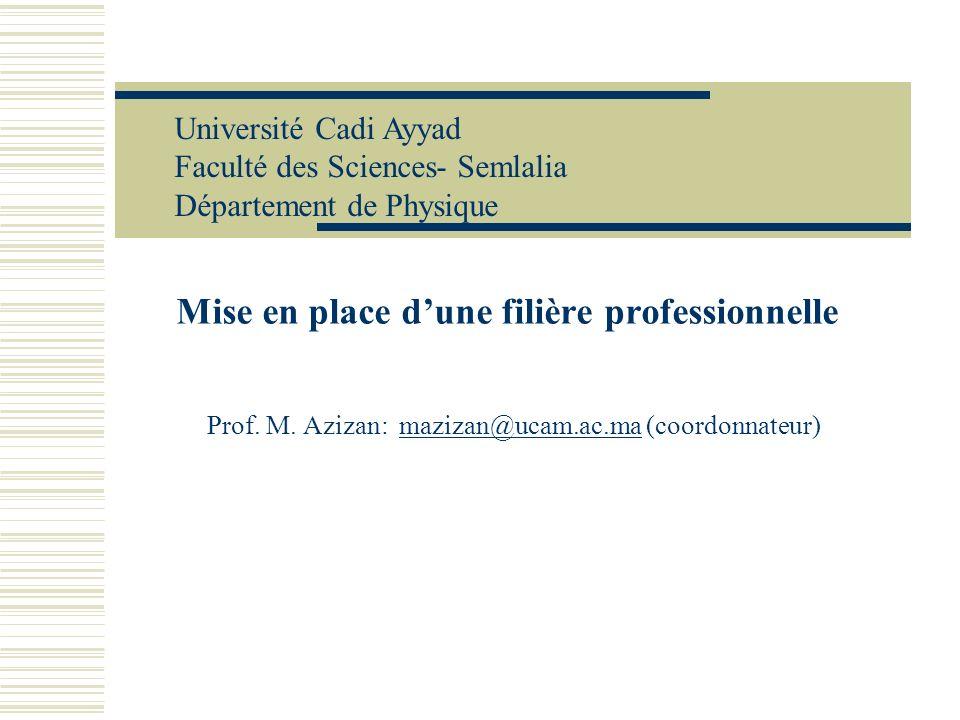 Mise en place dune filière professionnelle Prof. M. Azizan:mazizan@ucam.ac.ma (coordonnateur)mazizan@ucam.ac.ma Université Cadi Ayyad Faculté des Scie