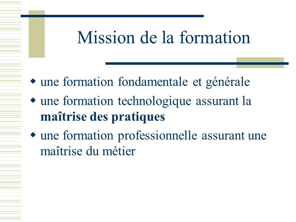 Mission de la formation une formation fondamentale et générale une formation technologique assurant la maîtrise des pratiques une formation profession