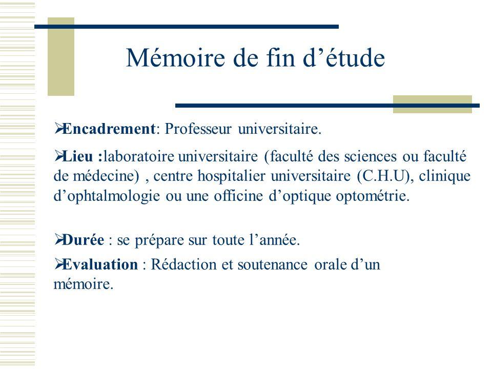 Mémoire de fin détude Lieu :laboratoire universitaire (faculté des sciences ou faculté de médecine), centre hospitalier universitaire (C.H.U), cliniqu