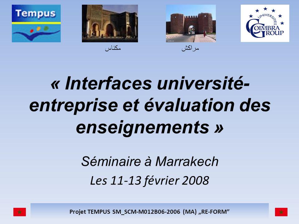 مكناسمراكش Projet TEMPUS SM_SCM-M012B06-2006 (MA) RE-FORM « Interfaces université- entreprise et évaluation des enseignements » Séminaire à Marrakech Les 11-13 février 2008