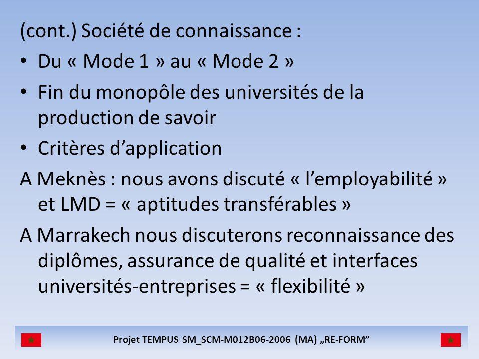Projet TEMPUS SM_SCM-M012B06-2006 (MA) RE-FORM (cont.) Société de connaissance : Du « Mode 1 » au « Mode 2 » Fin du monopôle des universités de la production de savoir Critères dapplication A Meknès : nous avons discuté « lemployabilité » et LMD = « aptitudes transférables » A Marrakech nous discuterons reconnaissance des diplômes, assurance de qualité et interfaces universités-entreprises = « flexibilité »