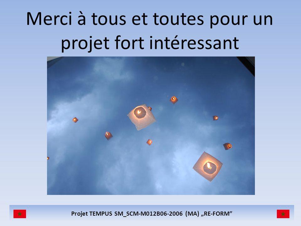 Projet TEMPUS SM_SCM-M012B06-2006 (MA) RE-FORM Merci à tous et toutes pour un projet fort intéressant