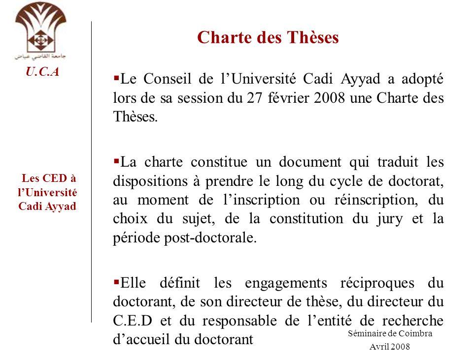 Les CED à lUniversité Cadi Ayyad U.C.A Charte des Thèses Le Conseil de lUniversité Cadi Ayyad a adopté lors de sa session du 27 février 2008 une Chart