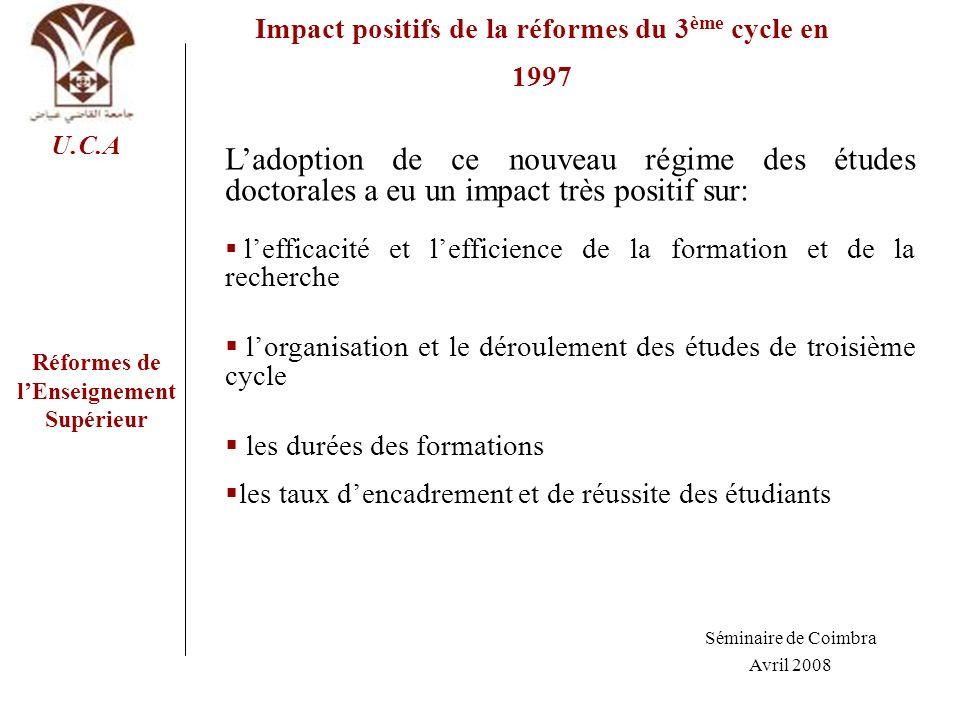 Réformes de lEnseignement Supérieur U.C.A Impact positifs de la réformes du 3 ème cycle en 1997 Ladoption de ce nouveau régime des études doctorales a