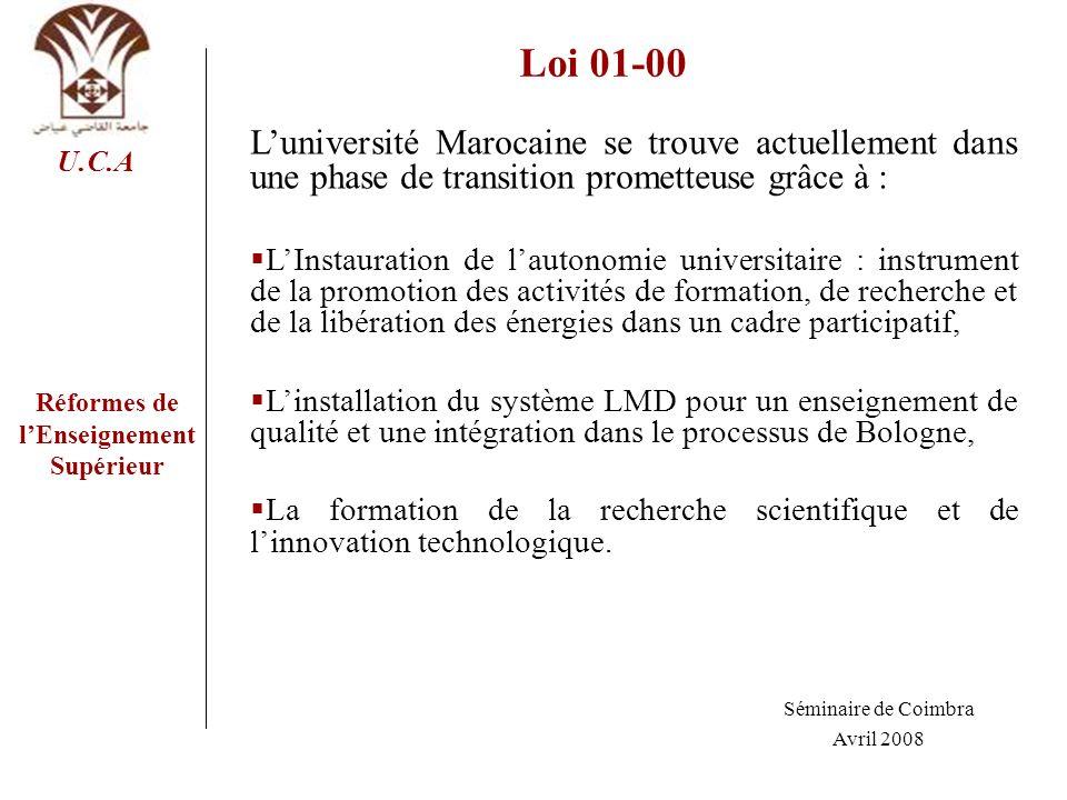 Réformes de lEnseignement Supérieur U.C.A Loi 01-00 Luniversité Marocaine se trouve actuellement dans une phase de transition prometteuse grâce à : LI