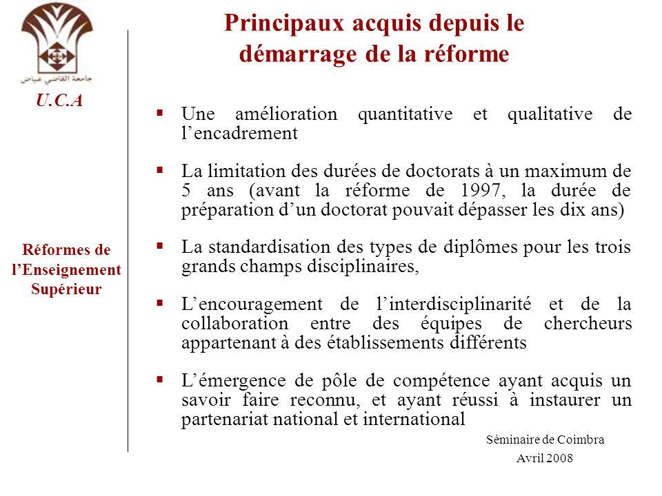 Réformes de lEnseignement Supérieur U.C.A Principaux acquis depuis le démarrage de la réforme Une amélioration quantitative et qualitative de lencadre
