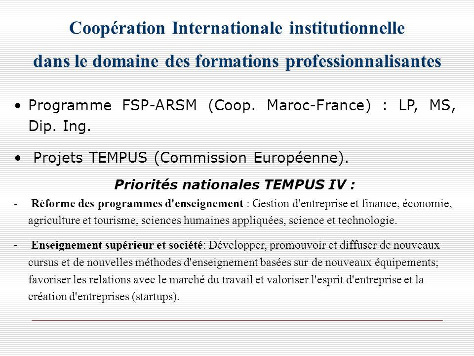Coopération Internationale institutionnelle dans le domaine des formations professionnalisantes Programme FSP-ARSM (Coop. Maroc-France) : LP, MS, Dip.