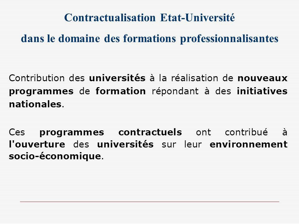 Contractualisation Etat-Université dans le domaine des formations professionnalisantes Contribution des universités à la réalisation de nouveaux progr