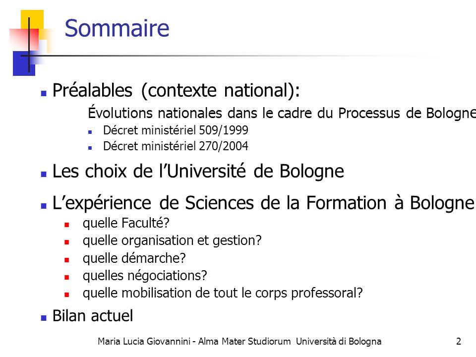 Évolutions italiennes dans le cadre du Processus de Bologne Références juridiques: Décret ministériel de 1999 Règlement sur lautonomie universitaire Décret ministériel de 2004 Amendements au règlement sur lautonomie universitaire