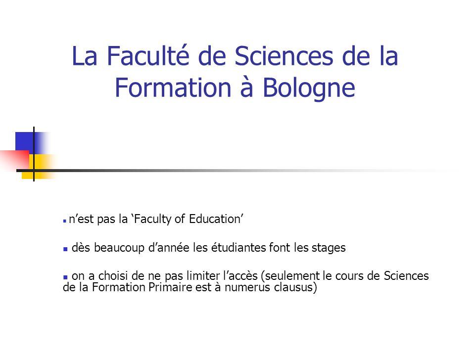 La Faculté de Sciences de la Formation à Bologne nest pas la Faculty of Education dès beaucoup dannée les étudiantes font les stages on a choisi de ne pas limiter laccès (seulement le cours de Sciences de la Formation Primaire est à numerus clausus)
