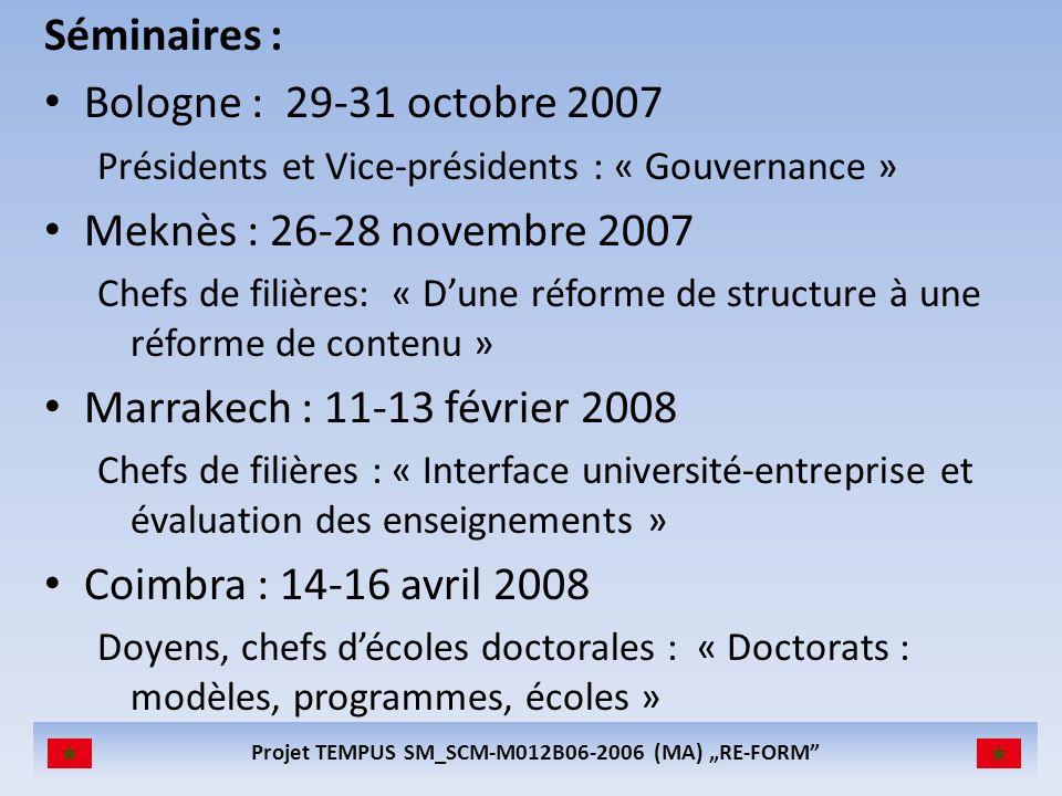 Projet TEMPUS SM_SCM-M012B06-2006 (MA) RE-FORM Séminaires : Bologne : 29-31 octobre 2007 Présidents et Vice-présidents : « Gouvernance » Meknès : 26-28 novembre 2007 Chefs de filières: « Dune réforme de structure à une réforme de contenu » Marrakech : 11-13 février 2008 Chefs de filières : « Interface université-entreprise et évaluation des enseignements » Coimbra : 14-16 avril 2008 Doyens, chefs décoles doctorales : « Doctorats : modèles, programmes, écoles »