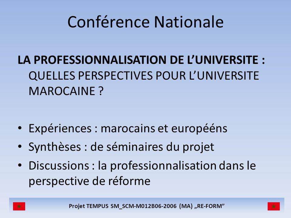 Projet TEMPUS SM_SCM-M012B06-2006 (MA) RE-FORM Les partenaires du projet Coimbra Group (coordinateur) (BE) Université Moulay Ismail, Meknès (MA) Université Cadi Ayyad, Marrakech (MA) Ministère de lEducation du Maroc (MA) Université de Bologne (IT) Université de Coimbra (PO) Université de Grenade (ES) Expert externe: Dr Péter Debreczeni (HU)