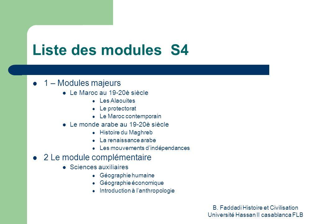 B. Faddadi Histoire et Civilisation Université Hassan II casablanca FLB Liste des modules S4 1 – Modules majeurs Le Maroc au 19-20è siècle Les Alaouit