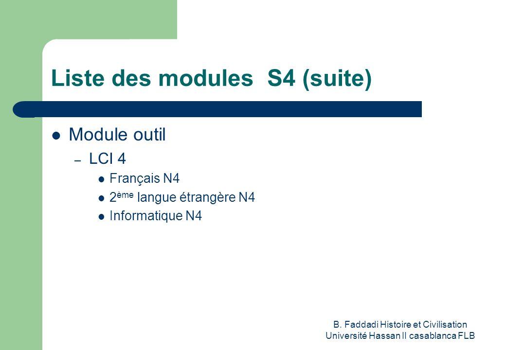 B. Faddadi Histoire et Civilisation Université Hassan II casablanca FLB Liste des modules S4 (suite) Module outil – LCI 4 Français N4 2 ème langue étr
