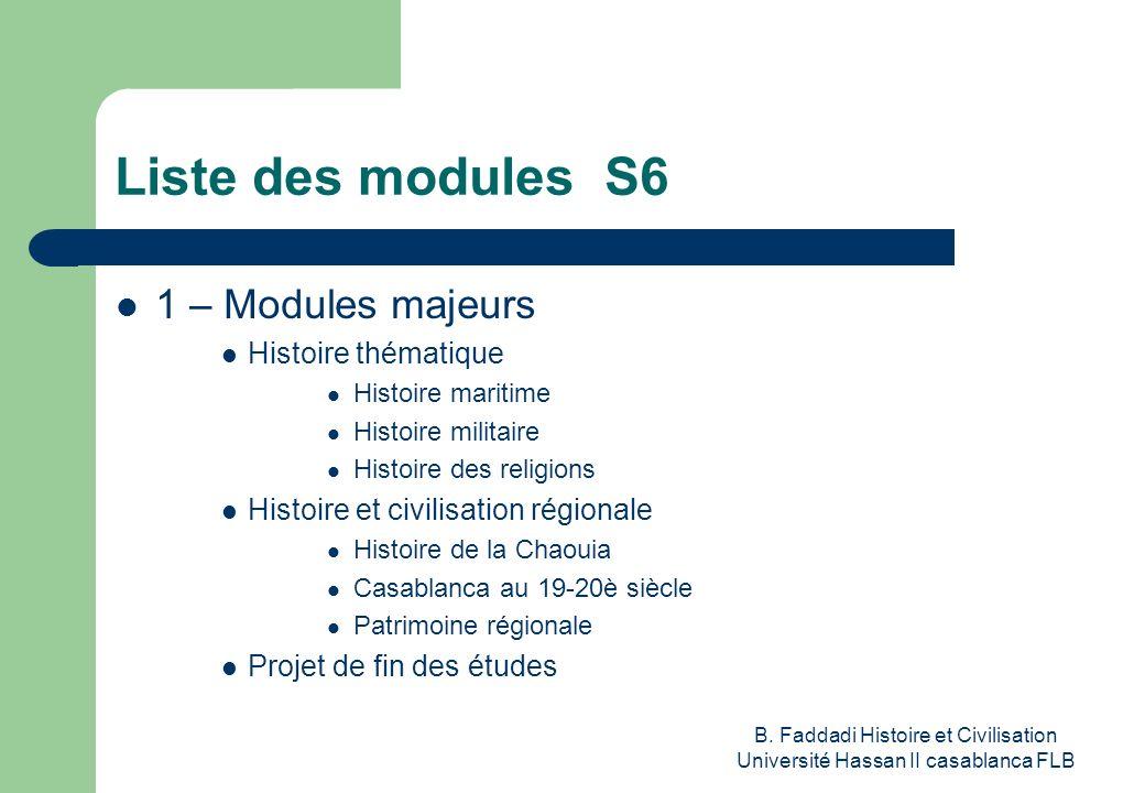 B. Faddadi Histoire et Civilisation Université Hassan II casablanca FLB Liste des modules S6 1 – Modules majeurs Histoire thématique Histoire maritime