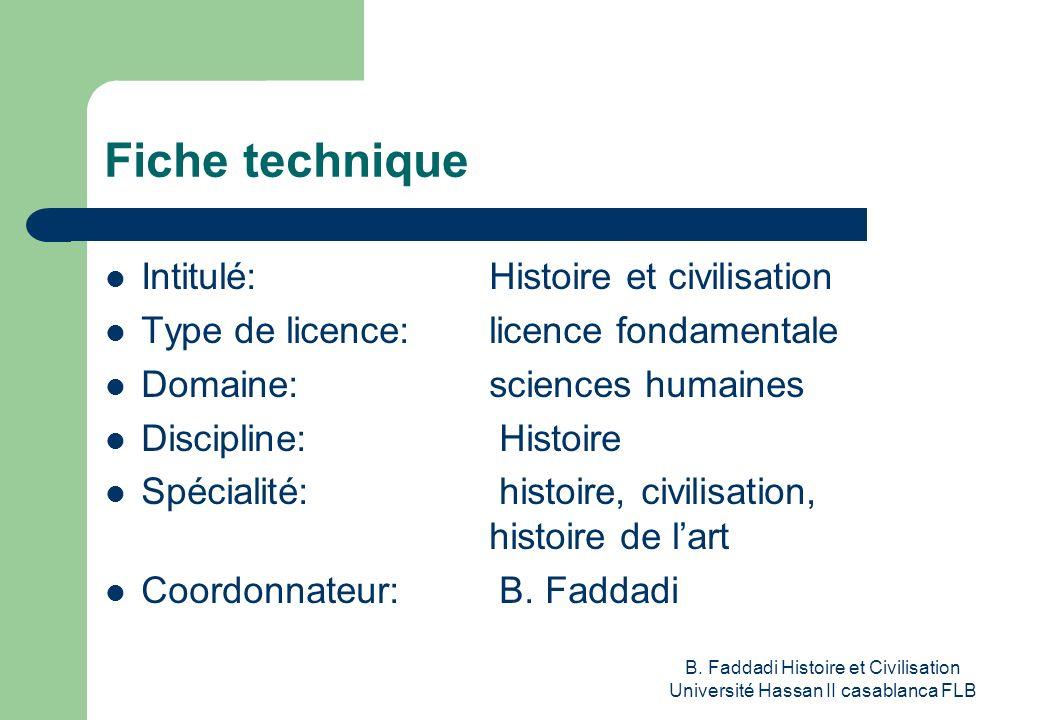 B. Faddadi Histoire et Civilisation Université Hassan II casablanca FLB Fiche technique Intitulé: Histoire et civilisation Type de licence: licence fo