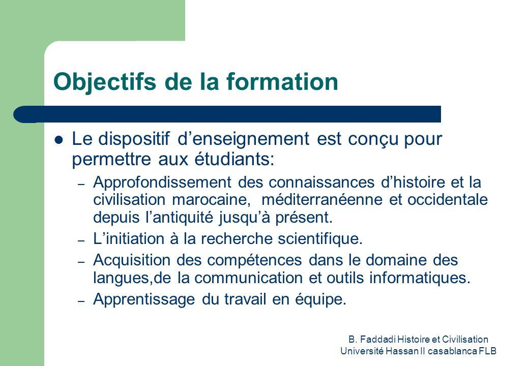 B. Faddadi Histoire et Civilisation Université Hassan II casablanca FLB Objectifs de la formation Le dispositif denseignement est conçu pour permettre