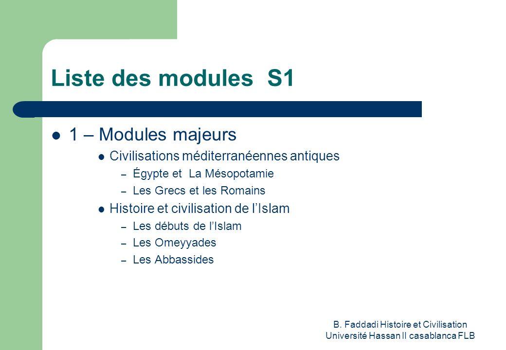 B. Faddadi Histoire et Civilisation Université Hassan II casablanca FLB Liste des modules S1 1 – Modules majeurs Civilisations méditerranéennes antiqu