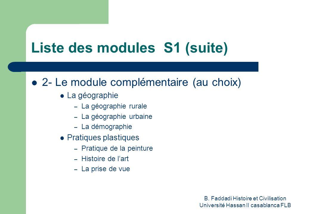 B. Faddadi Histoire et Civilisation Université Hassan II casablanca FLB Liste des modules S1 (suite) 2- Le module complémentaire (au choix) La géograp