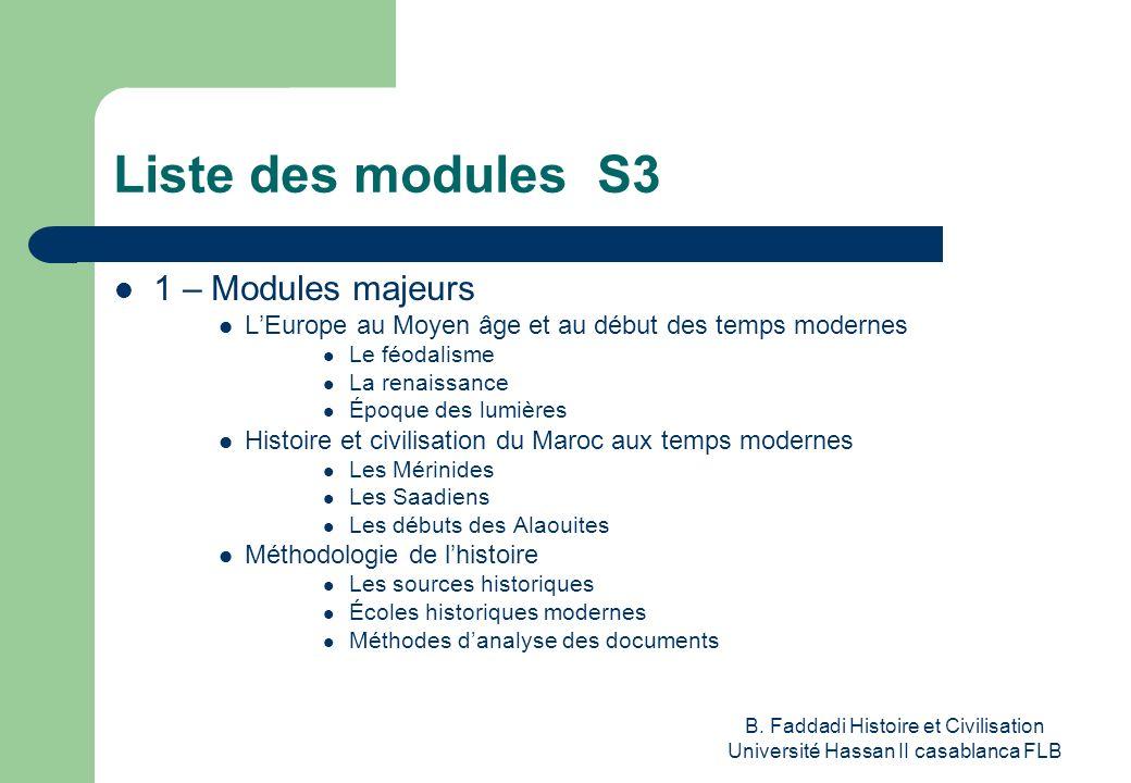 B. Faddadi Histoire et Civilisation Université Hassan II casablanca FLB Liste des modules S3 1 – Modules majeurs LEurope au Moyen âge et au début des