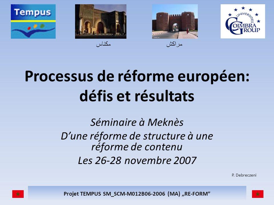 مكناسمراكش Projet TEMPUS SM_SCM-M012B06-2006 (MA) RE-FORM Processus de réforme européen: défis et résultats Séminaire à Meknès Dune réforme de structure à une réforme de contenu Les 26-28 novembre 2007 P.