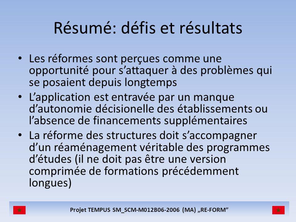 Résumé: défis et résultats Les réformes sont perçues comme une opportunité pour sattaquer à des problèmes qui se posaient depuis longtemps Lapplicatio