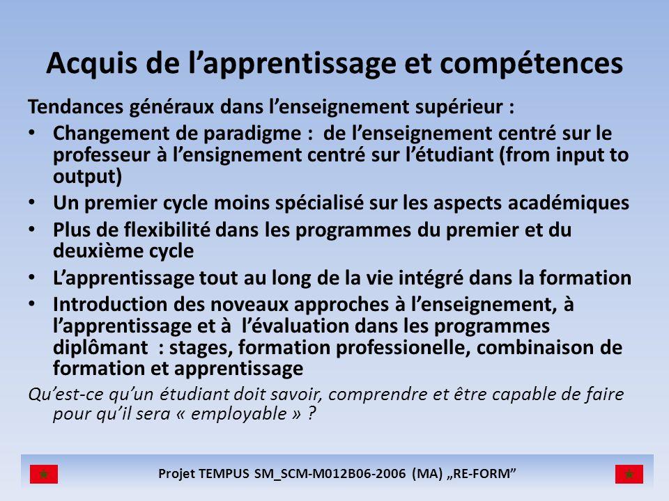Projet TEMPUS SM_SCM-M012B06-2006 (MA) RE-FORM Acquis de lapprentissage et compétences Tendances généraux dans lenseignement supérieur : Changement de
