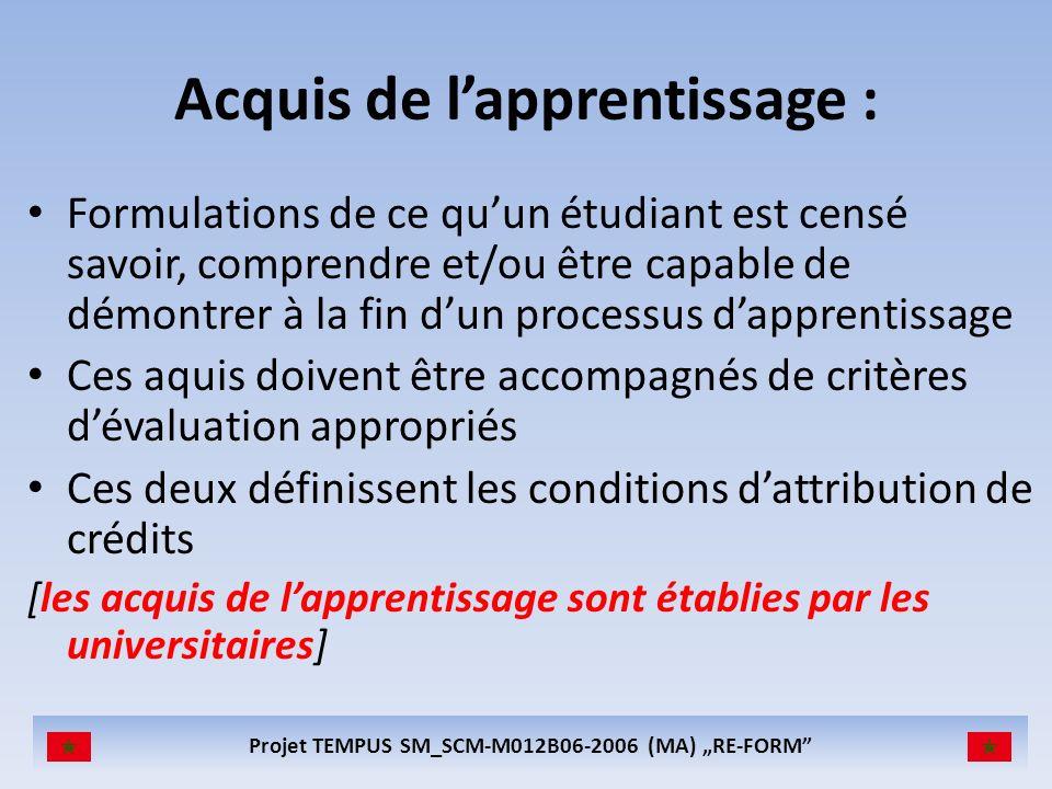 Projet TEMPUS SM_SCM-M012B06-2006 (MA) RE-FORM Acquis de lapprentissage : Formulations de ce quun étudiant est censé savoir, comprendre et/ou être cap