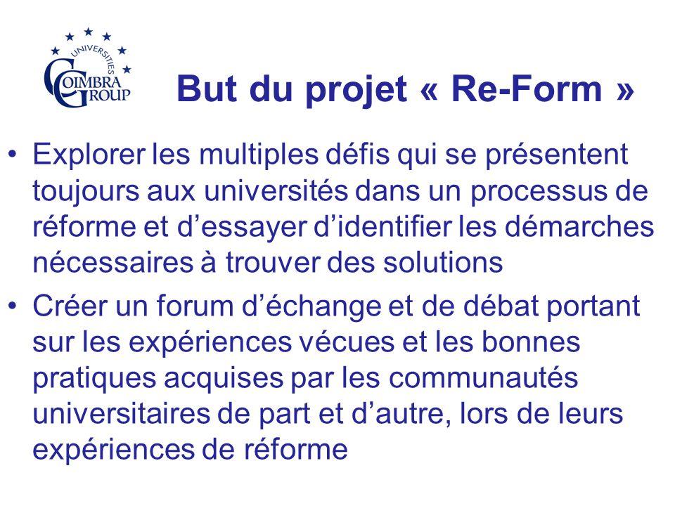 But du projet « Re-Form » Explorer les multiples défis qui se présentent toujours aux universités dans un processus de réforme et dessayer didentifier les démarches nécessaires à trouver des solutions Créer un forum déchange et de débat portant sur les expériences vécues et les bonnes pratiques acquises par les communautés universitaires de part et dautre, lors de leurs expériences de réforme