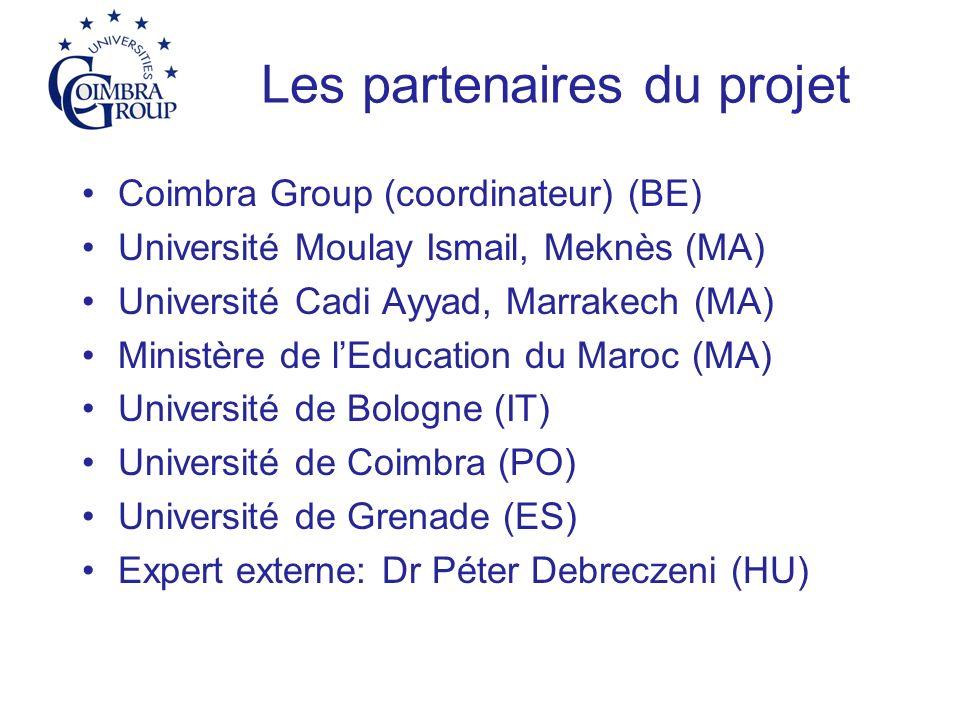 Les partenaires du projet Coimbra Group (coordinateur) (BE) Université Moulay Ismail, Meknès (MA) Université Cadi Ayyad, Marrakech (MA) Ministère de lEducation du Maroc (MA) Université de Bologne (IT) Université de Coimbra (PO) Université de Grenade (ES) Expert externe: Dr Péter Debreczeni (HU)