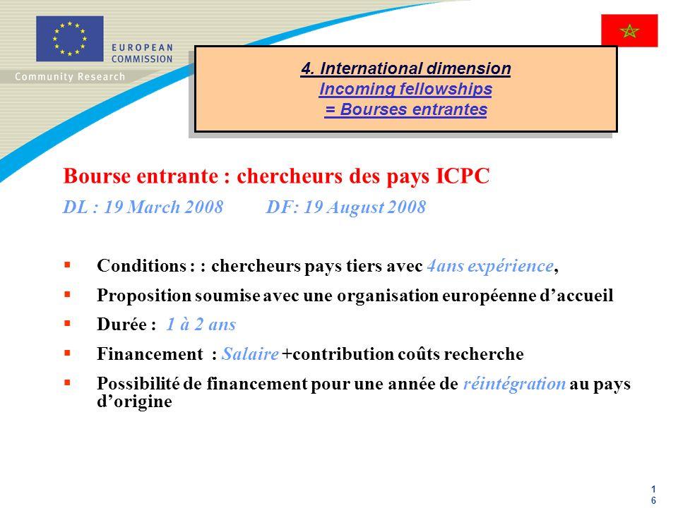 1616 4. International dimension Incoming fellowships = Bourses entrantes Bourse entrante : chercheurs des pays ICPC DL : 19 March 2008DF: 19 August 20