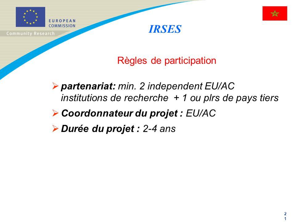 2121 Règles de participation partenariat: min. 2 independent EU/AC institutions de recherche + 1 ou plrs de pays tiers Coordonnateur du projet : EU/AC