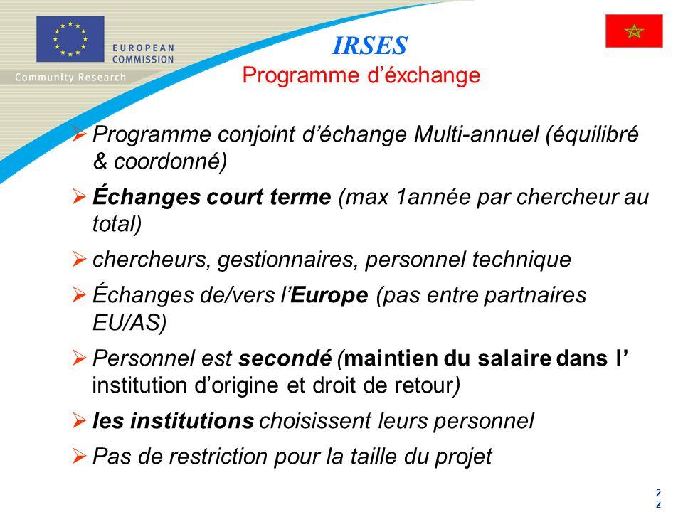 2 Programme déxchange Programme conjoint déchange Multi-annuel (équilibré & coordonné) Échanges court terme (max 1année par chercheur au total) cherch