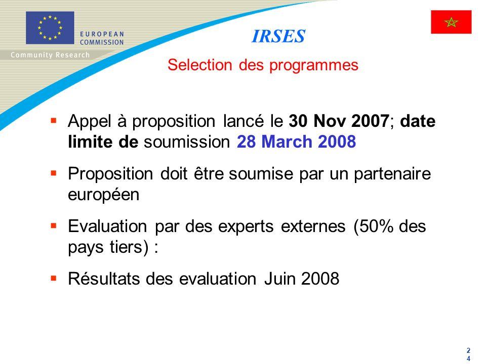 2424 Selection des programmes Appel à proposition lancé le 30 Nov 2007; date limite de soumission 28 March 2008 Proposition doit être soumise par un p