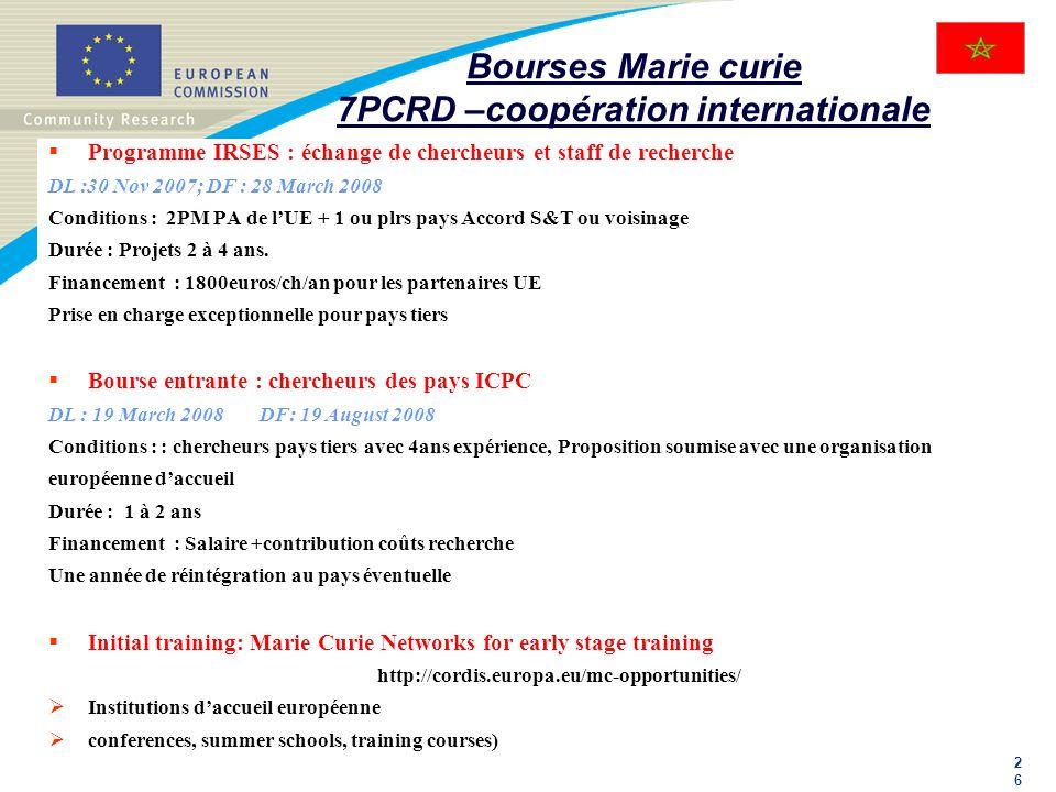 2626 Bourses Marie curie 7PCRD –coopération internationale Programme IRSES : échange de chercheurs et staff de recherche DL :30 Nov 2007; DF : 28 Marc