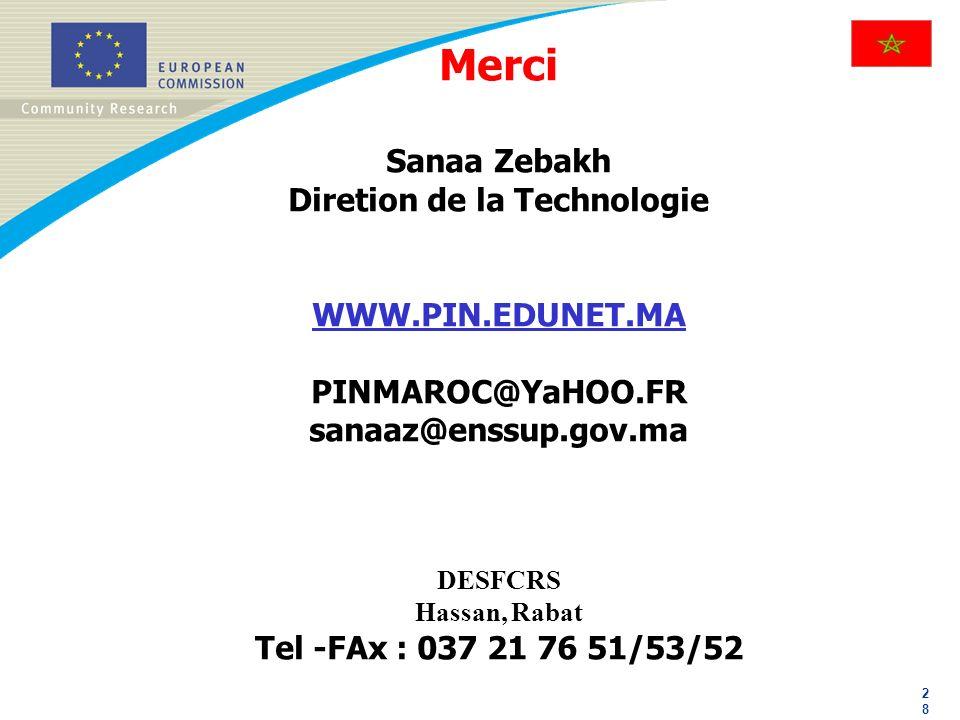 2828 Merci Sanaa Zebakh Diretion de la Technologie WWW.PIN.EDUNET.MA PINMAROC@YaHOO.FR sanaaz@enssup.gov.ma DESFCRS Hassan, Rabat Tel -FAx : 037 21 76