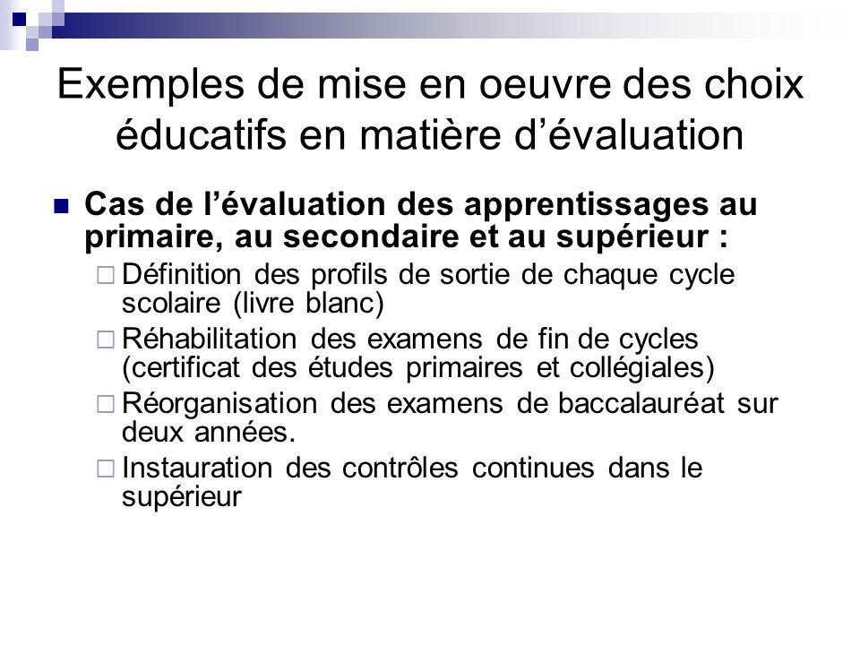 Exemples de mise en oeuvre des choix éducatifs en matière dévaluation Cas de lévaluation des apprentissages au primaire, au secondaire et au supérieur